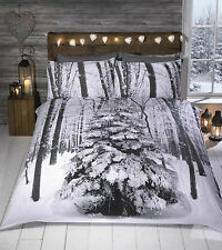 Rapport Winter Sparkle Christmas Tree 100 Cotton Double Duvet Cover Set