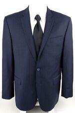 JACK VICTOR 42L Napoli CT Navy Blue 2 Button Double Vented Striped Blazer Jacket