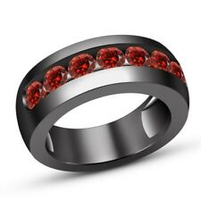 Ring Wedding Band 14k Black Gold Fn Men's Round Cut Red Garnet Pinky Engagement