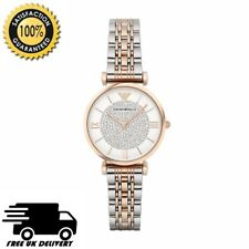 Emporio Armani AR1926 Silver Rose Gold Two Tone Crystal Pave Dial Womens Watch