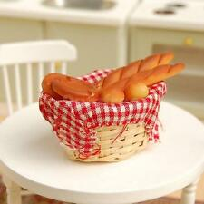 Dollhouse Miniature Wicker Basket of Mixed French Bread Sticks Loaf Toast Food