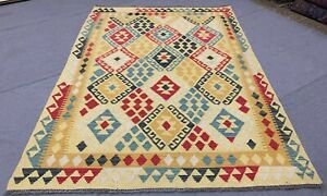 New Afghan Chobi Hand Woven Veg Dyed Wool Kilim Kilm Area Rug 6 x 4 (1043 HMN)