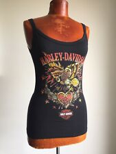 HARLEY-DAVIDSON GENUINE MOTOR BIKE LADIES BLACK SLEEVELESS VEST T-SHIRT BN £8 !!