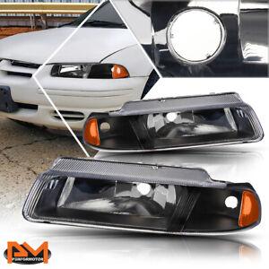 For 95-00 Chrysler Cirrus/Dodge Stratus Headlight/Lamp Black Housing Amber Side