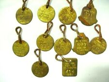 New listing Eleven (11) Brass Dog Tags - Mun Of Colchester Dated 1964-1967