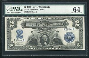 """FR. 258 1899 $2 TWO DOLLARS """"MINI PORTHOLE"""" SILVER CERTIFICATE PMG UNC-64"""