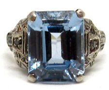 Imposing Ring in 18K Gold  and Platinum with Blue Topaz