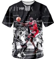Michael Jordan NBA 3D T-Shirt Black Basketball Full Print Style US Size S - 4XL