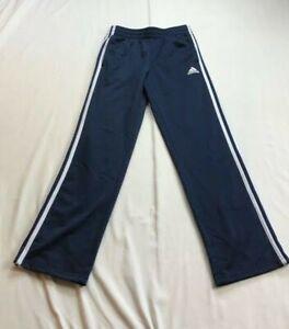 Adidas Boys Sz L (14/16) Track Pants Blue White Stripes $69.99