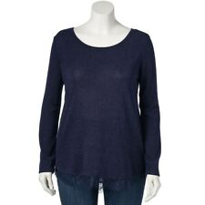 Women's LC Lauren Conrad Metallic Blue Fairisle Lace Top Size 1X