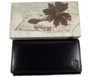 GUANG TONG   Womens Black Firenze Leather Purse Wallet Clutch   Brand New In Box