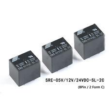 DC 5V 12V 24V PCB Relay 8 Pin 3A Black Automotive Relay SRE 2 Form C Mini Relay