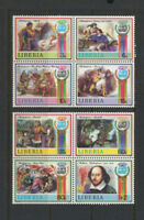 Shakespeare Mint NH Set of 8 Large Topical Stamps Liberia 1987 2 Blocks of 4