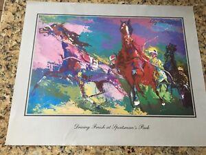 vintage Sportsman Park race track AUTHENTIC   lithograph by LeRoy Nemas 1978