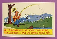 Vintage Antique Post Card, Fishing Humor #1