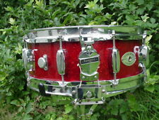 vintage ROGERS DRUMS red sparkle wooden DynaSonic snare drum - bread + butter