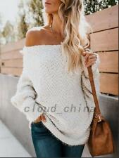 White Cold Weather Winter Women Off Shoulder Sweater Jumper Pullover Knitwear