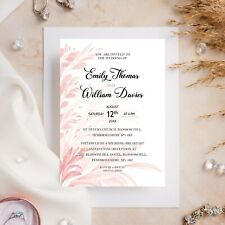 10 Wedding Invitations Day/Evening Pink Leaves