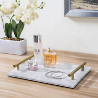 12-Inch White Marble Stone Serving Tray with Vintage Brass Metal Handles