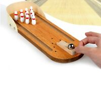 Family Fun Mini Desktop Bowling Game Wooden for Kids Adults Ball Board Game Toys