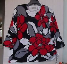 Alfred Dunner Size 1X Bold Floral sweater knit top, 3/4 sleeve, red, navy  NWT