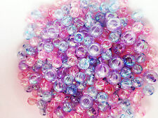 50g of Round Acrylic Pretty Spacer Beads Mix 6mm & 8mm PINK, BLUE & LILAC B25M