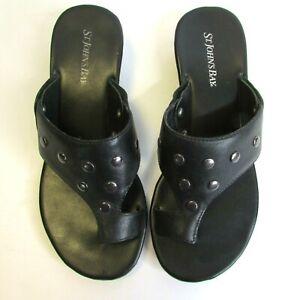 St. John's Bay Leather Toe Loop Wedge Sandals Size 7 Metal Studs Slip On Summer