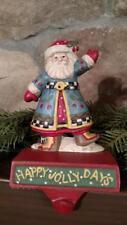 MIDWEST Engelbreit Jolly Days Santa Cast Iron CHRISTMAS STOCKING HOLDER Hanger A