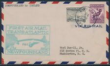 First Trans-Atlantic Flight Cover Newfoundland To Ireland June 24,1939 Bu3635