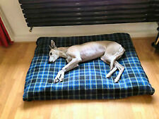 KosiPet® Large Waterproof Rhomboid Memory Foam Chips Cushion Dog Bed BLUE CHECK