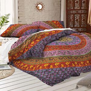 Bohemian Mandala Bedding Quilt Duvet Cover Set Queen Size Comforter Pillow Set