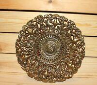 Vintage hand made ornate floral brass bowl