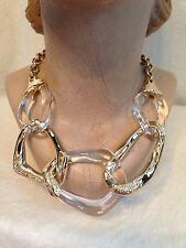 ALEXIS BITTAR GOLD TONE CLEAR  LUCITE WAVY LINK NECKLACE - CRYSTALS