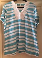 BM Striped Turquoise + White Top, Size 24 - Lovely!