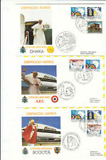 Vatican 1986 FDCs Popes visit Bogota-Ars-Dhaka on 3 covers