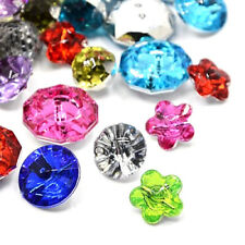 144pcs Acrylic Rhinestone Buttons Faceted Mixed Shapes Mixed Color DIY Sewing