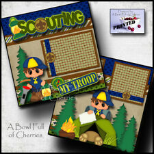 SCOUTING ~ 2 premade scrapbook pages paper printed LAYOUT boy cub scouts CHERRY