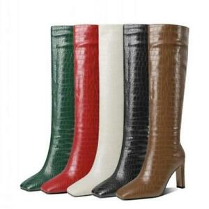 Runway Women's Block Heel Square Toe Knee High Boots Cosplay 40 41 42 43 Pumps L