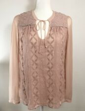 Anthropologie Tiny Womens Embroidered Edelweiss Sheer Sleeve Top Blouse Small