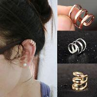 Womens Ear Clip Cuff Earrings Wrap Fashion Punk Rock Fake Stud No piercing-Clip