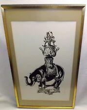 """1967 Hand Drawing of Ceremonial Elephant Signed """"Evans"""" Orig. Beveled Wood Frame"""