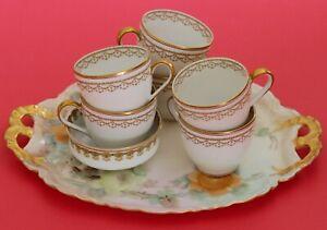Lot 8 Antique Haviland Limoges Pieces Tray Cups Ramekin floral Fancy Gold