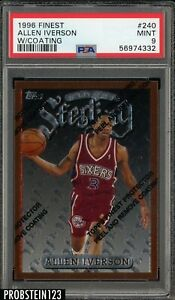 1996 Finest w/ Coating #240 Allen Iverson Philadelphia 76ers RC Rookie PSA 9