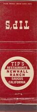 Tip's Restaurants Newhall Ranch Saugus California CA Old Matchcover