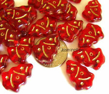 Czech Glass X'mas Trees Loose Beads Charms RUBY RED 12