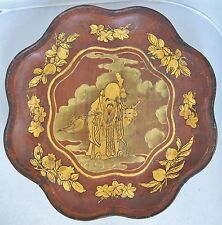 """14.5"""" Antique Chinese Wood Bowl with Gold Painted Immortal SAU, Peaches & Deer"""