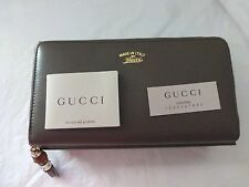 NWT Gucci Bambo Tassel Leather Zip Around Continental Wallet, Gray