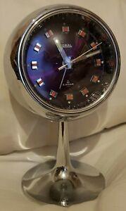 Vintage 1960s Mid Century Modern Japan Coral Chrome Mechanical Alarm Clock