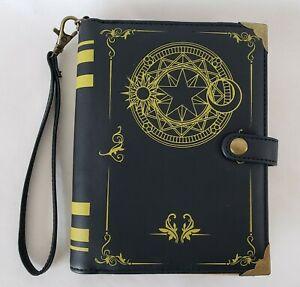 "Think Geek Magic Spell Book Black Wristlet Purse Wallet Bag Zip Snap 7"" x 5.5"""