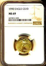 1990 $10 GOLD EAGLE 1/4 OZ  NGC MS69  GEM BU NEW HOLDER - SUPERB GEM - RARE DATE